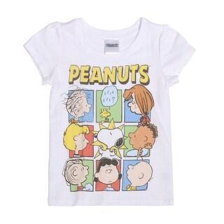 Peanuts Group Shot Toddler Short Sleeve T-Shirt, White - 4t