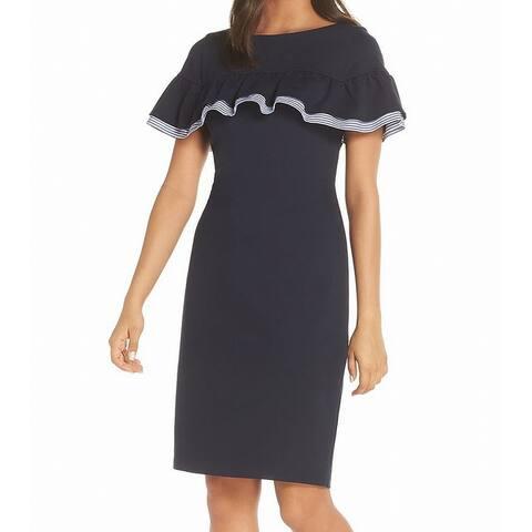 498f8202d29 Eliza J Women s Bateau Neck Ruffle Sheath Dress
