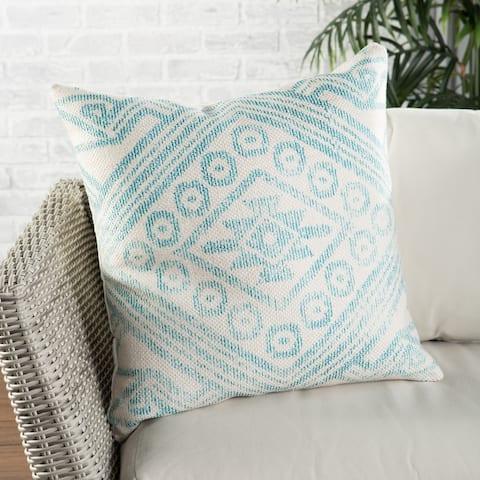 Nikki Chu Malae Indoor/ Outdoor Tribal Turquoise/ Cream Throw Pillow