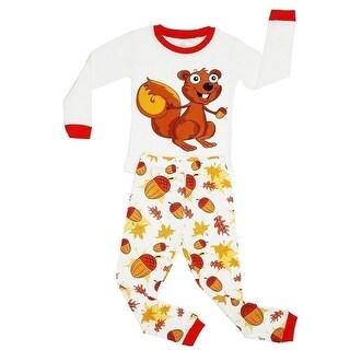 Elowel Little Girls Brown Chipmunk Nut Print Cotton 2 Pc Pajama Set