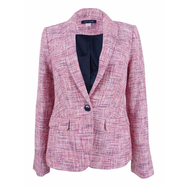 45038daa6f51aa Shop Tommy Hilfiger Women's Tweed Elbow-Patch Blazer - midnight/multi - Free  Shipping Today - Overstock - 22988276