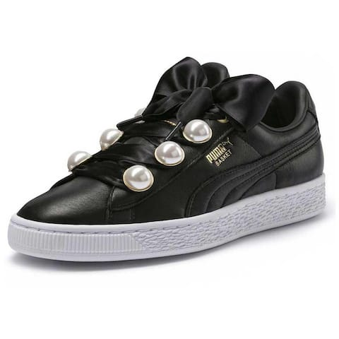Puma Womens Basket Bling Fabric Low Top Lace Up Fashion Sneakers
