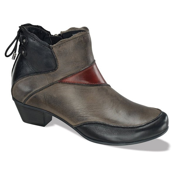Aetrex NEW Gray Shoes Size 6W Ankle Lace-Back Leather Booties
