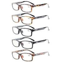 Eyekepper 5-Pack Rectangular Frame Spring-Hinges Quality Reading Glasses +0.75