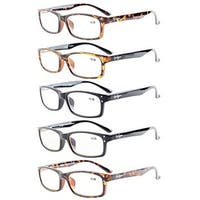 Eyekepper 5-Pack Rectangular Frame Spring-Hinges Quality Reading Glasses +1.5