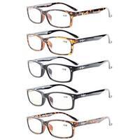 Eyekepper 5-Pack Rectangular Frame Spring-Hinges Quality Reading Glasses +2.0
