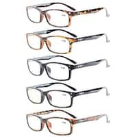 Eyekepper 5-Pack Rectangular Frame Spring-Hinges Quality Reading Glasses +2.5