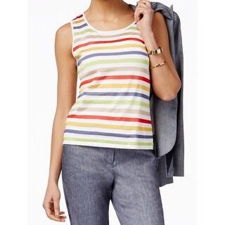 Anne Klein NEW White Tomato Womens Size XL Striped Knit Tank Top