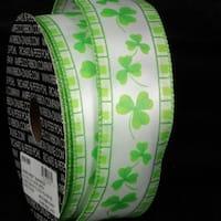 "White and Green Shamrock Print Wired Craft Ribbon 1.5"" x 40 Yards"