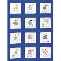 "Little Boys - Stamped White Nursery Quilt Blocks 9""X9"" 12/Pkg"