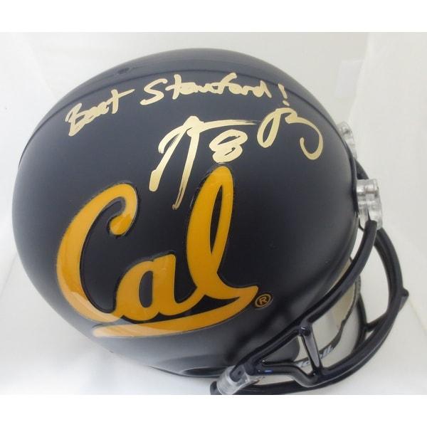 b2643e258 Aaron Rodgers Autographed Cal Bears BEAT STANFORD Signed Football Helmet  Fanatics COA 2
