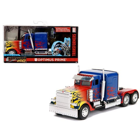 Optimus Prime Truck with Robot on Chassis from 'Transformers' Movie 'Hollywood Rides' Series Diecast Model by Jada