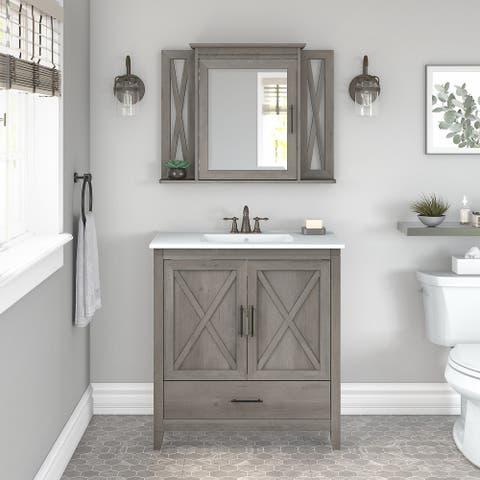 Key West 32W Bathroom Vanity Sink with Mirror by Bush Furniture