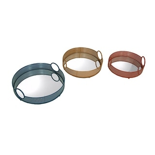 Set of 3 Decorative Colorful Round Metal Mesh Mirrored Trays