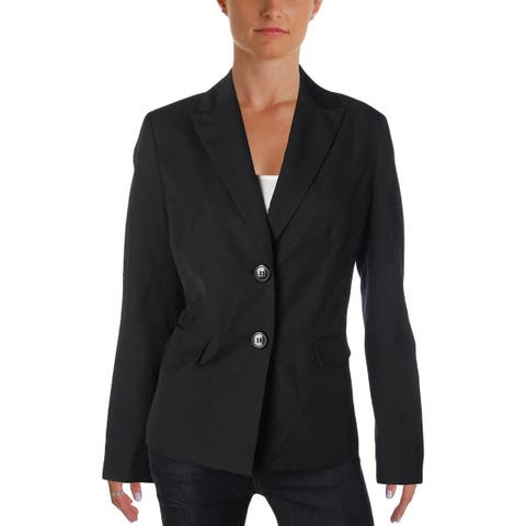 Le Suit Womens Two-Button Blazer Tonal Pinstripe
