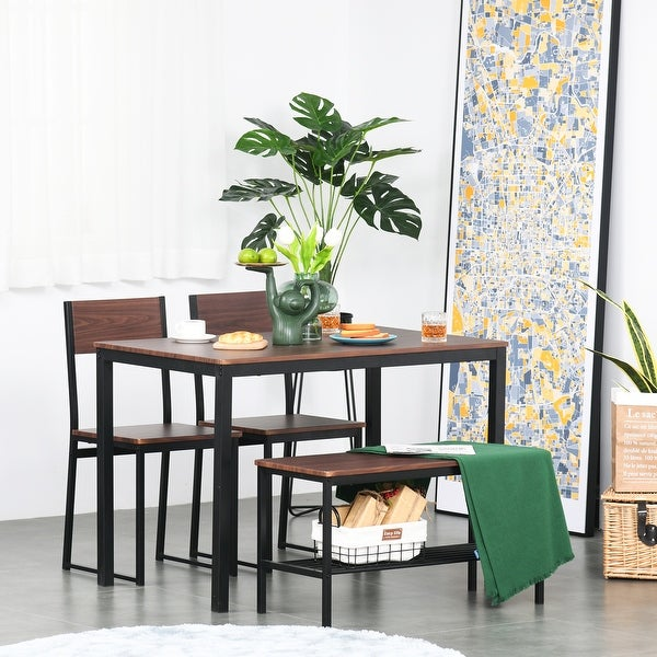 HOMCOM 4-Piece Industrial Dining Table Set with Table, 2 Chairs, Storage Rack, and Bench, for Dining Room, Black/Brown. Opens flyout.