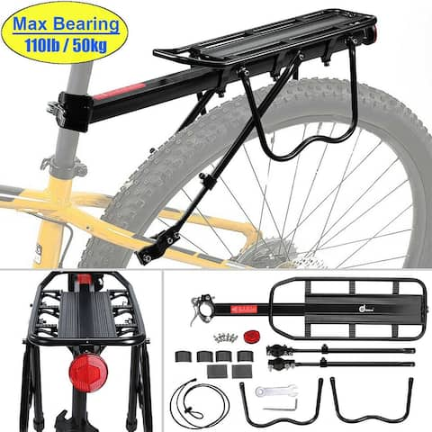 Odoland 110 lbs Capacity Adjustable Rear Bike Rack Carrier Luggage Cargo Bicycle Accessories - M