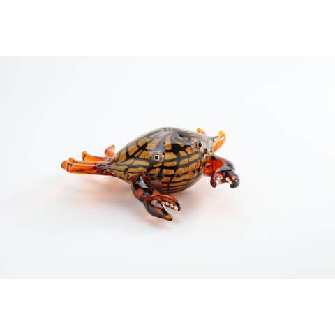 "8"" Orange and Black Handblown Glass Crab Figurine"