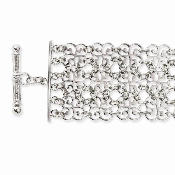 Silvertone Toggle Bracelet - 8in