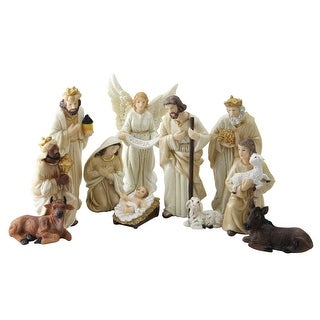 11-Piece Neutral Toned Inspirational Christmas Nativity Figure Set with Glittered Accents