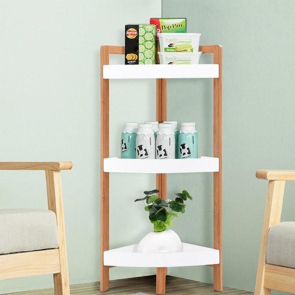 Gymax 3 Tier Corner Shelf Tower Storage Wood Rack Stand Organizer Holder Bathroom As Pic