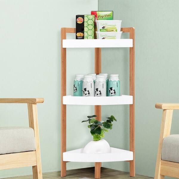 Gymax 3 Tier Corner Shelf Tower Storage