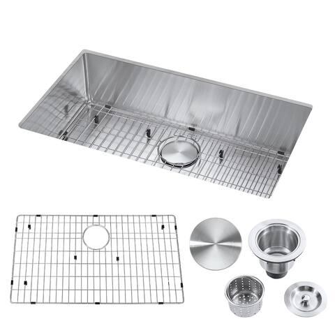 "32"" Undermount Single Bowl Stainless Steel Handmade Kitchen Sink & Drain Strainer, Bottom Grid, All in One (32"" x 18"" x 9"")"