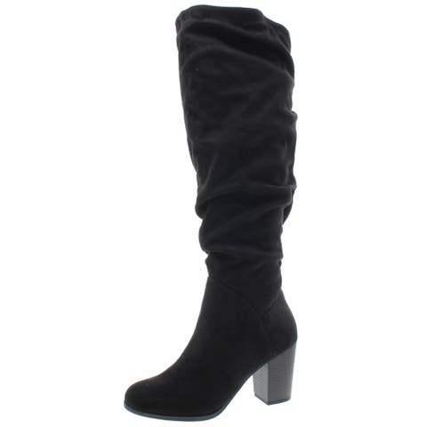 Material Girl Womens Myah Dress Boots Faux Suede Tall - Black Microsuede