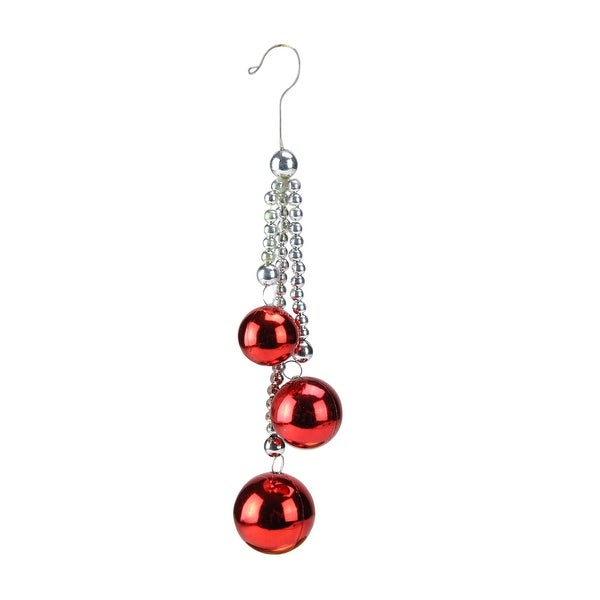 """8.5"""" Mod Holiday Silver Chain and Shiny Red Trio Christmas Ball Pendant Ornament"""