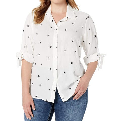 Karen Kane Womens Top White Size 3X Plus Tie Sleeve Button Down Shirt