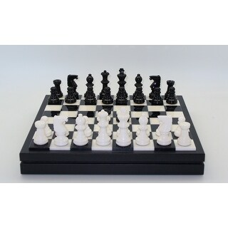 Black & White Alabaster Chest Chess Set - Multicolored