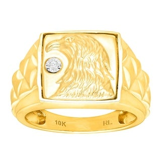 Men's Eagle Ring with Diamond in 10K Gold