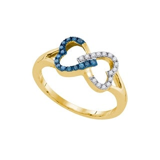 10kt Yellow Gold Womens Round Blue Colored Diamond Heart Love Fashion Ring 1/7 Cttw - White