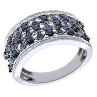 Prism Jewel 0.73Ct Blue Diamond With Diamond Vine Band Crafted In Sterling Silver