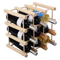 Costway 12 Bottle Wood Wine Rack Bottle Holder Storage Display Natural Kitchen