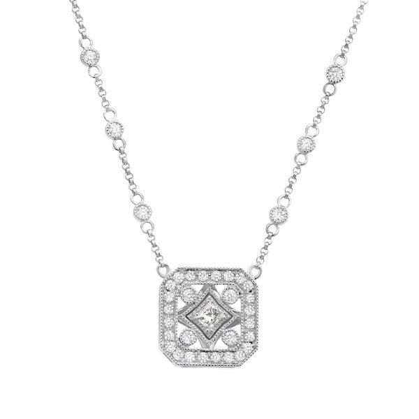 5/8 ct Diamond Square Necklace in 14K White Gold