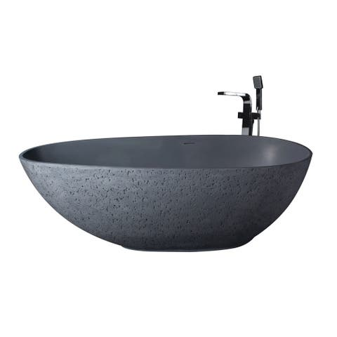 "Vanity Art 65"" Solid Surface Freestanding Bathtub - 65"
