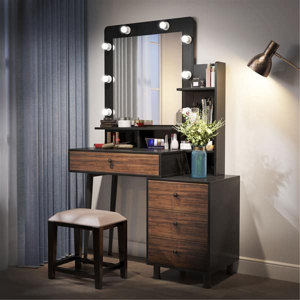 Makeup Vanity Table With Lighted Mirror And 3 Drawer Chest Black Brown On Sale Overstock 31865511