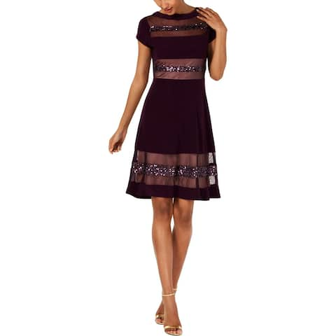R & M Richards Womens Petites Cocktail Dress Embellished Illusion