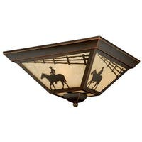 Vaxcel Lighting T0109 Trail 3 Light Flush Mount Outdoor Ceiling Fixture with Cream Ranch Portrait Glass Shade - 14 Inches Wide
