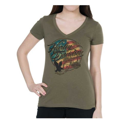 8c0e6c8a2 Harley-Davidson Women's American Flag Short Sleeve V-Neck Tee, Military  Green