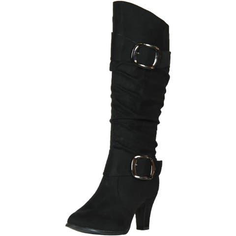 Anna Womens Nb200-04 Winkle Shaft Chunky Heel Boots
