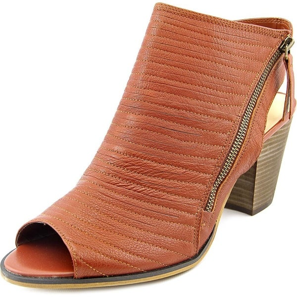 Bella Vita Kalista Women W Peep-Toe Leather Brown Bootie