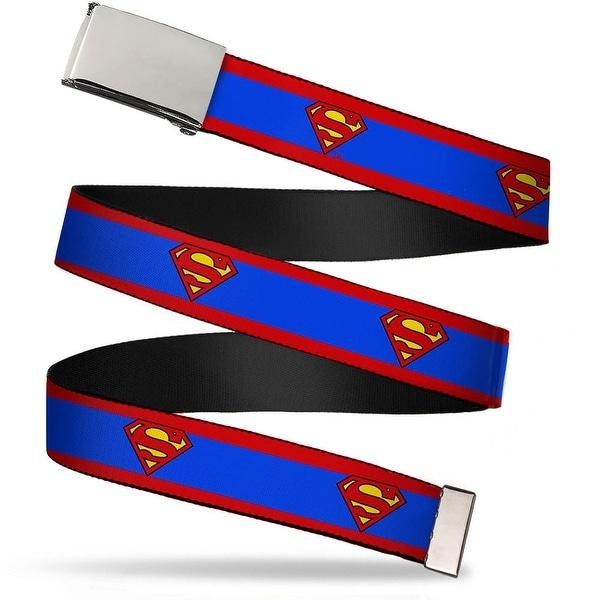 """Blank Chrome 1.5"""" Bo Buckle Superman Shield Stripe Red Blue Webbing Web Belt 1.50"""" Wide - L"""