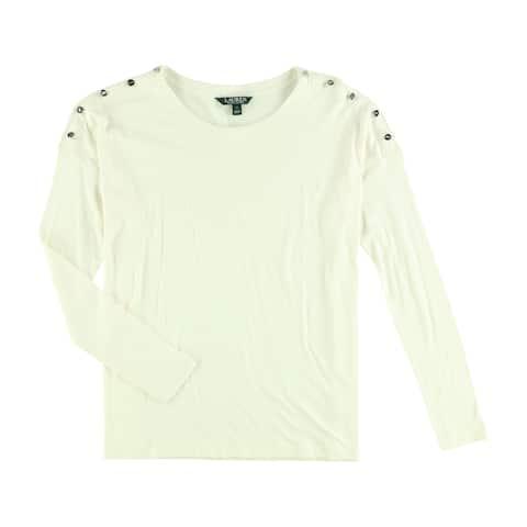 Ralph Lauren Womens Button Accents Basic T-Shirt