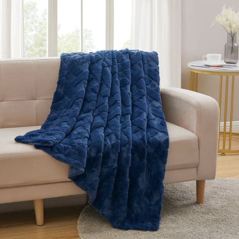 Sculpted Faux Fur Throw