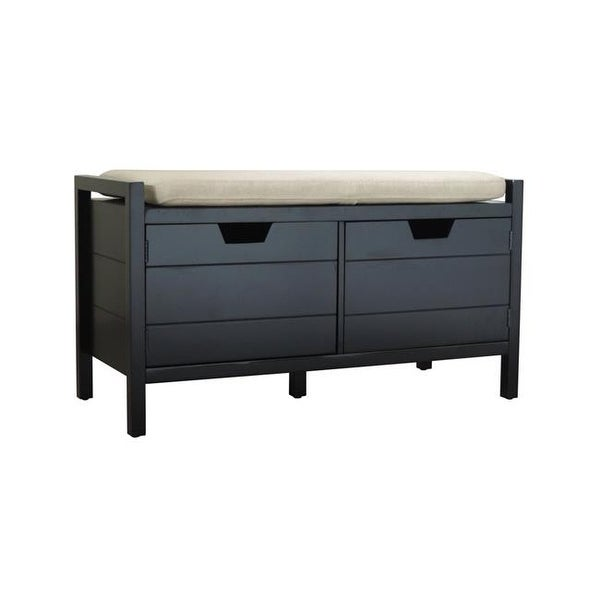 Shop Black Finish Solid Wood Bench With Cusion Front Cabinet Doors