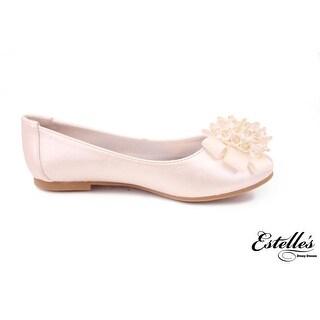 Satin Embellished Bow Ballet Flat