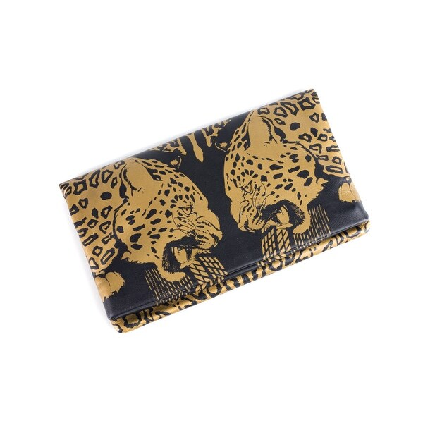 Roberto Cavalli Womens Black Gold Panther Leather Clutch Wallet - L