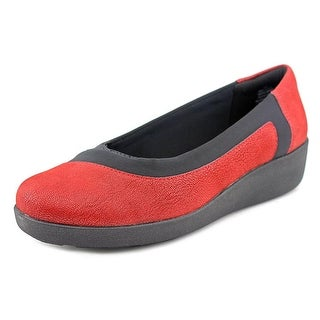 Easy Spirit e360 Kathleen Women W Round Toe Canvas Red Loafer